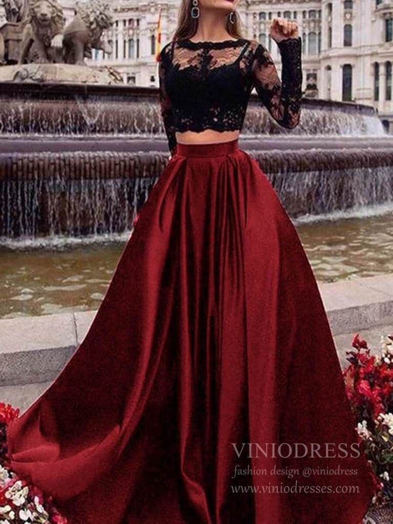 Long Sleeve Two Piece Lace Black Prom Dresses With Pockets Fd1711 In 2021 Prom Dresses Long With Sleeves Prom Dresses Prom Dresses With Pockets [ 1024 x 768 Pixel ]