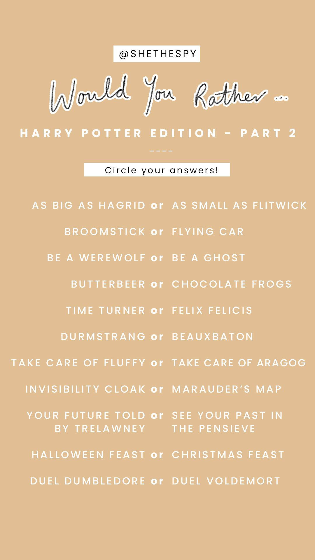 Wouldyourather Hp 2 Jpg Harry Potter Stories Harry Potter Questions Harry Potter Games