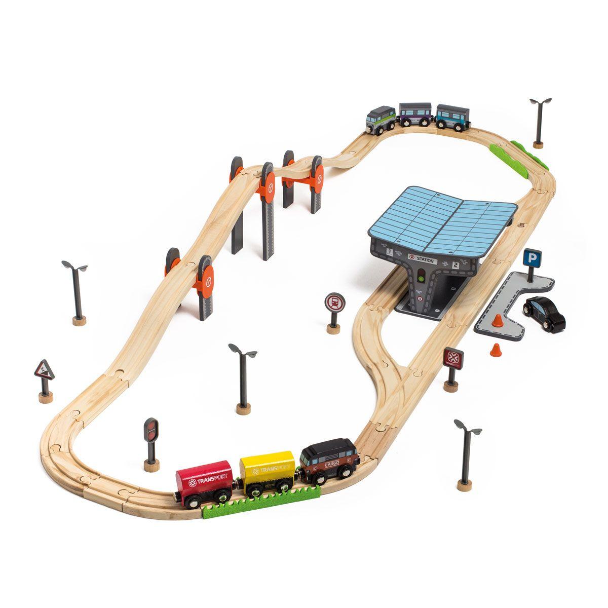 Circuit de train en bois 70 pièces Imagibul création Oxybul
