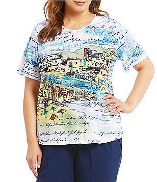 b2fed97ffc3 Allison Daley Plus Short Sleeve Seaside Print Embellished Details Knit Top