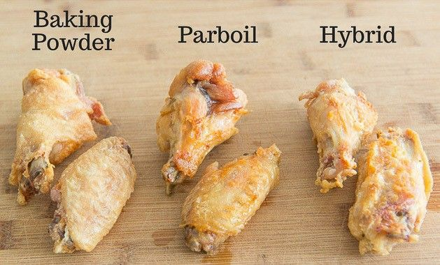 Three Methods Of Baked Chicken Wings Side By Side Baking Powder Parboil And Hybrid Baked Chicken Wings Crispy Baked Chicken Wings Wing Recipes