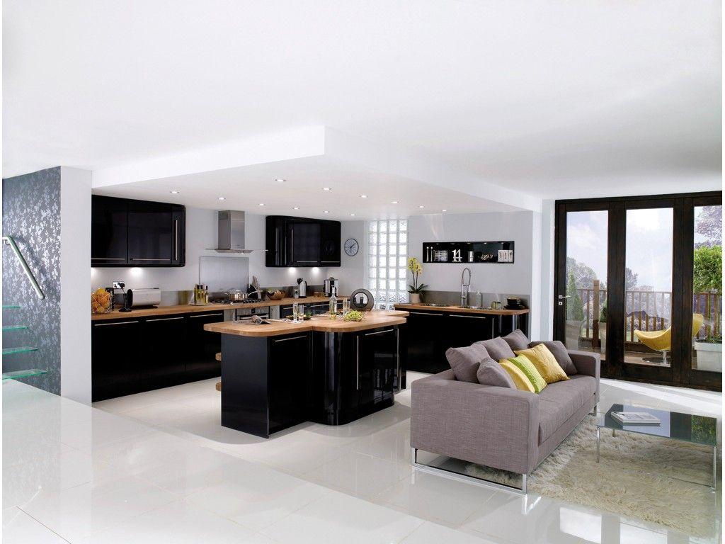 cuisine noir laqu et bois recherche google id es maison et d co pinterest cuisine noir. Black Bedroom Furniture Sets. Home Design Ideas