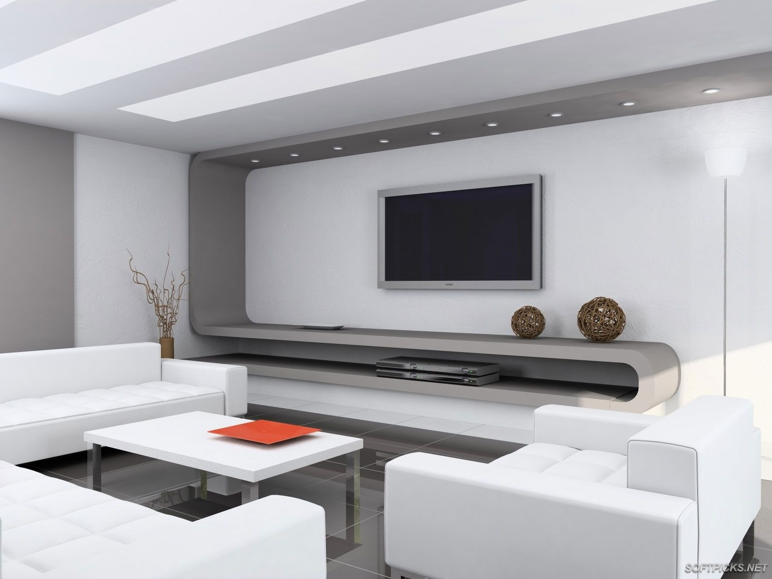 Minimalist Houses Interior With Tv Stand