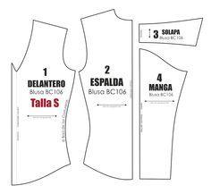 570005a727 Molde de costura gratis para blusa manga larga Talla S M L para imprimir en  casa. Formato PDF. Free Sewing Pattern