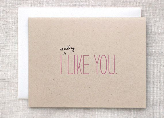 I Like You Card  Eco Friendly Anniversary Card by HappyDappyBits