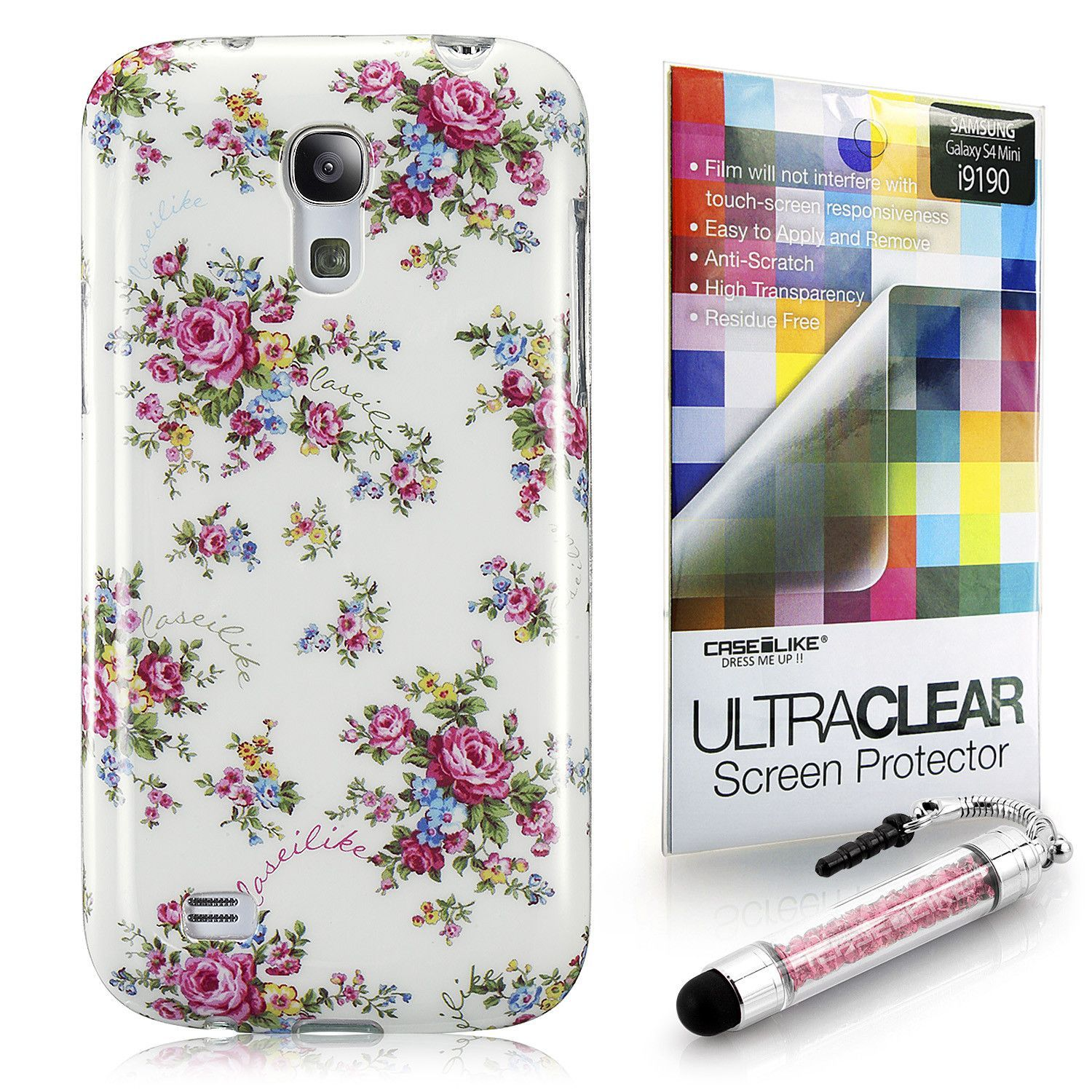 USD $4.99 White Floral Rose Classic 2200 Snap-on back cover for Samsung Galaxy S4 mini i9190 | CASEiLIKE™