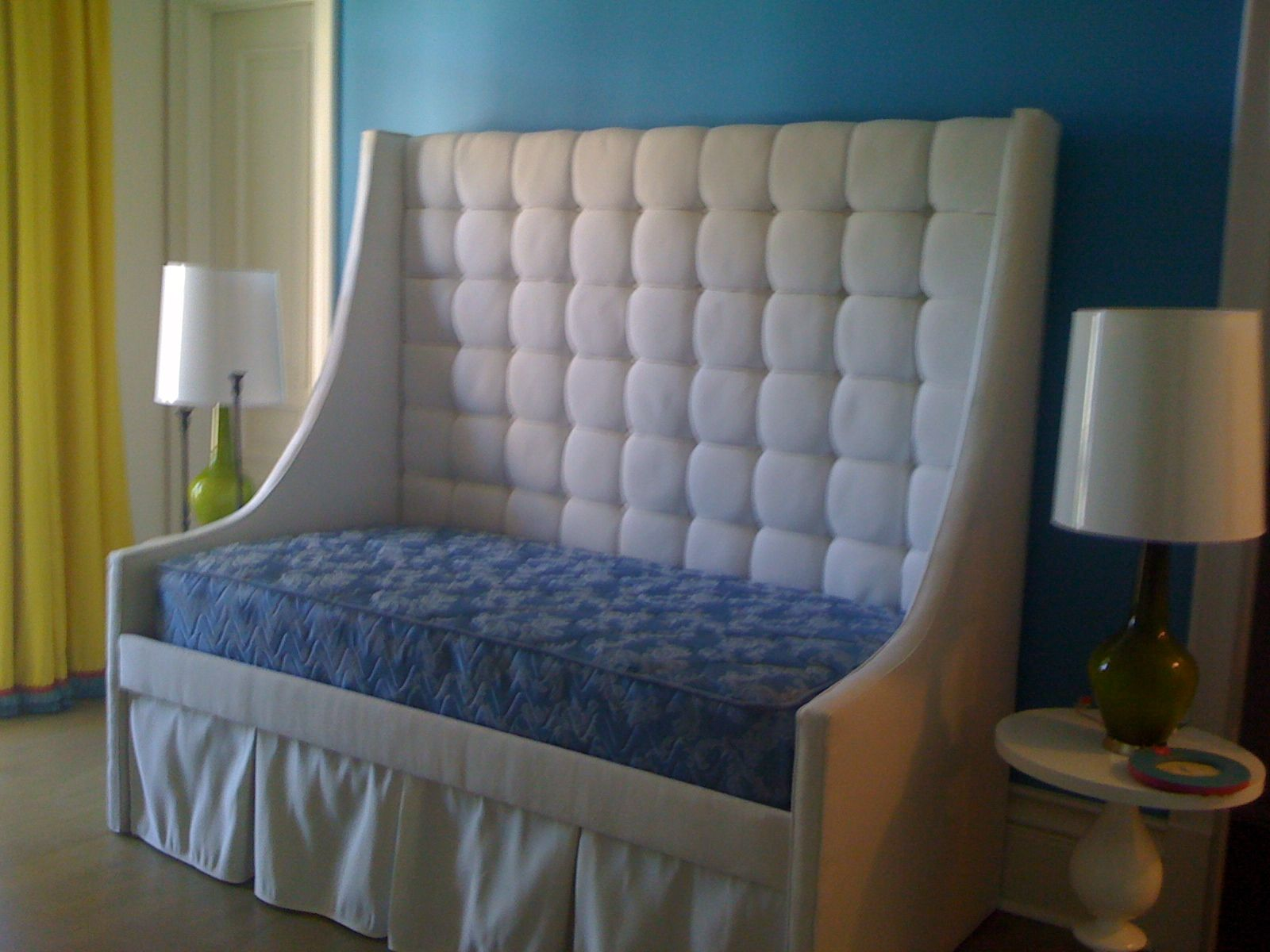 Tall headboards for queen beds - Idyllic White Tufted Headboard Tall Designs For Amazing Sofa Beds With Blue Velvet Seat As Well