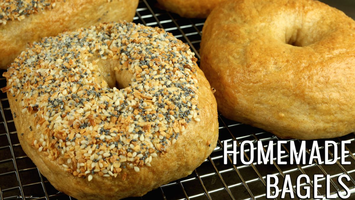 Easy to follow homemade bagels recipe. Includes instructions to make both plain bagels and everything bagels.