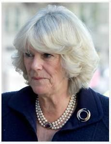 HRH the Duchess of Cornwall wearing her pearl choker with amethyst clasp and a round brooch.