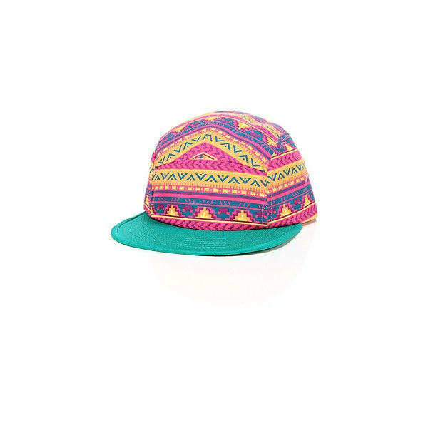 The Acid Aztek Camper Cap in Multi (€46) ❤ liked on Polyvore featuring accessories, hats, brim cap, 5 panel hat, five panel hat, brimmed hat and cap hats
