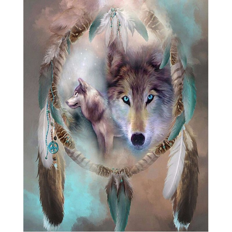 Beautiful Wolf Animal Canvas Picture Acrylic DIY Paint Set by Numbers Kits Decor