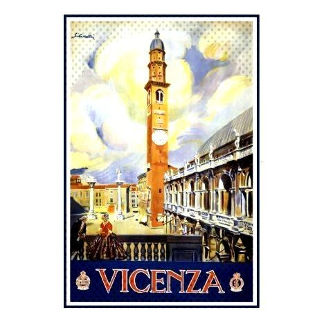 Vicenza Veneto Italia Vintage Tourism Travel Ad Postcard | - Vicenza Veneto Italia Vintage Touris