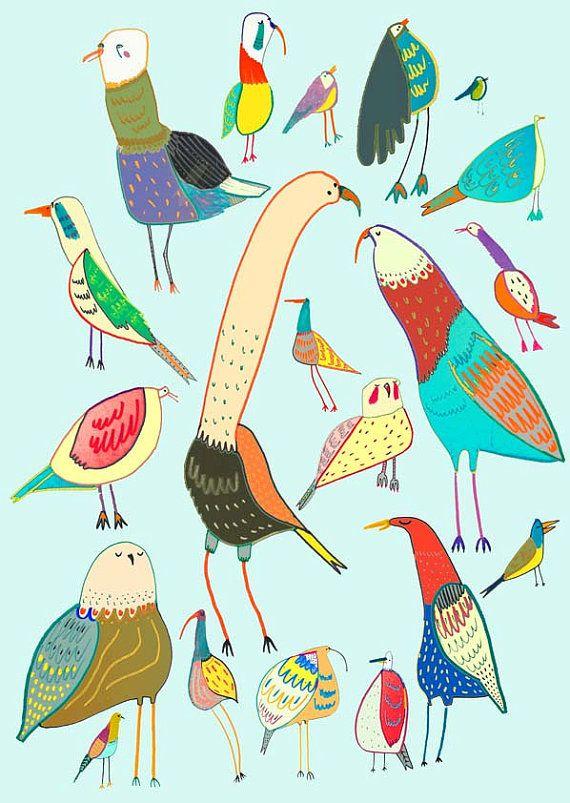Bird Print Illustration Art Prints Kids Posters Giclee Etsy Bird Art Colorful Art Prints Bird Prints