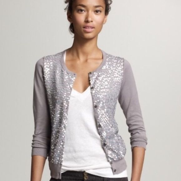 J Crew Silver Sequin Cardigan See photos as some sequins are ...