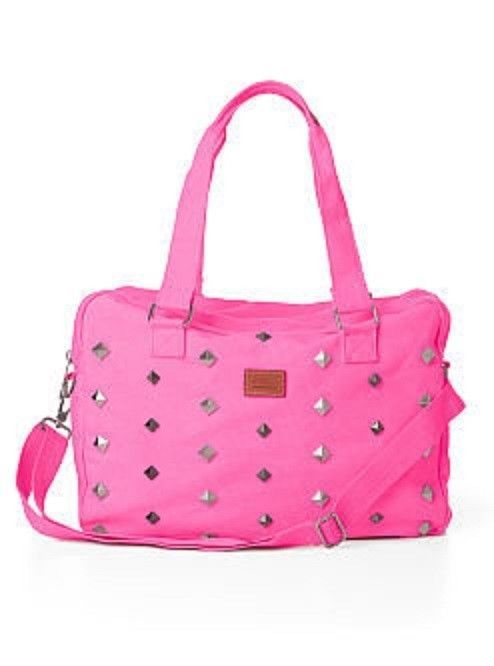 5257050a08e6 Victoria s Secret Pink Studs Gym Duffle Bag Tote Silver Neon Hot Pink New
