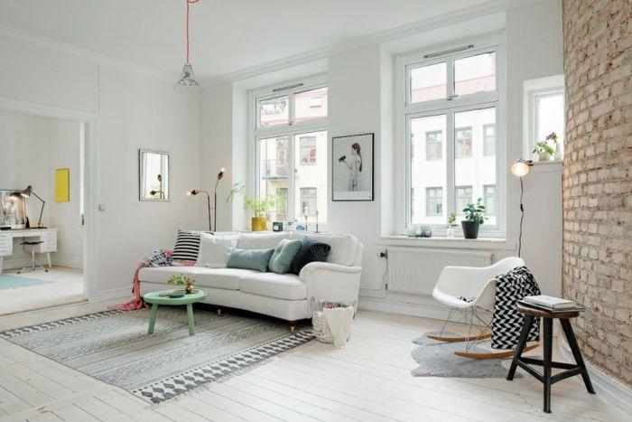 wandfarbe weiss wandgestaltung wohnzimmer backsteine ziegelwand - welche farbe für wohnzimmer