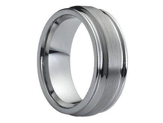 Mens Wedding Band Brushed Tungsten Carbide Unique Mens Wedding Etsy Tungsten Wedding Bands Mens Wedding Rings Tungsten Mens Wedding Bands Brushed