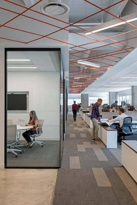 This Is A Really Nice Office Space I Think The Design Of The Ceiling Helps Open Up The Small Exposed Ceilings Office Ceiling Design Commercial Office Design