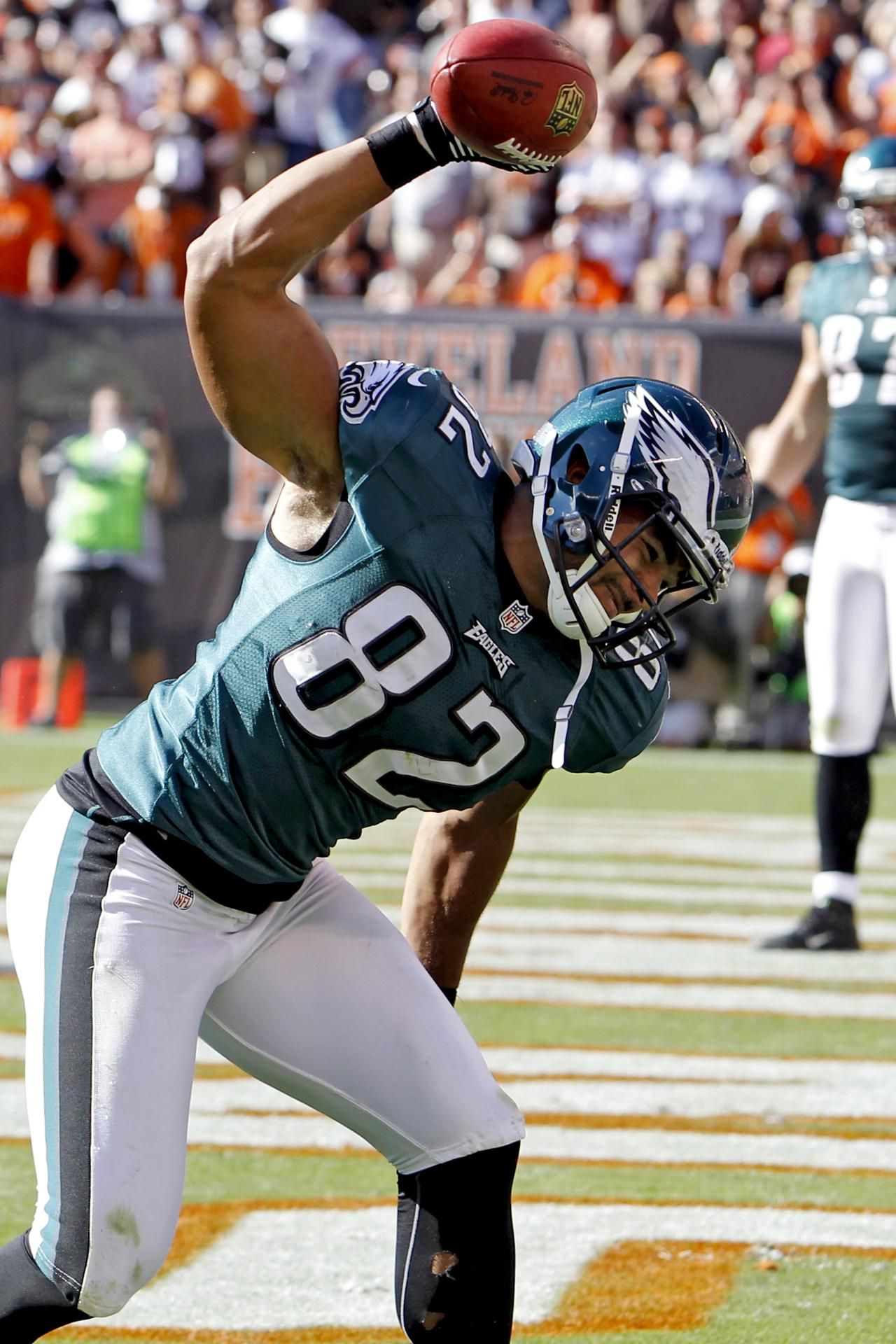 Philadelphia Eagles tight end Clay Harbor celebrates after