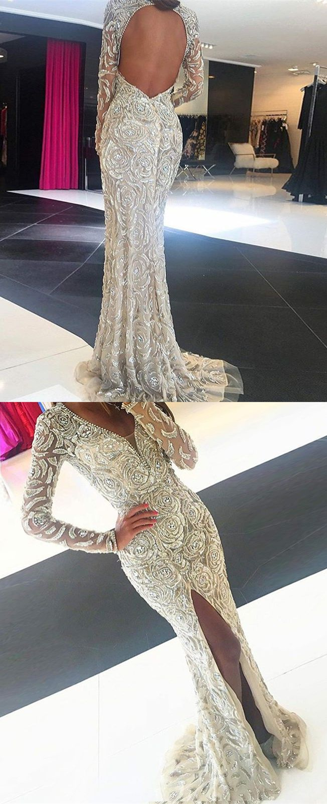 Mermaid vneck open back long lace prom dress with beading dresses