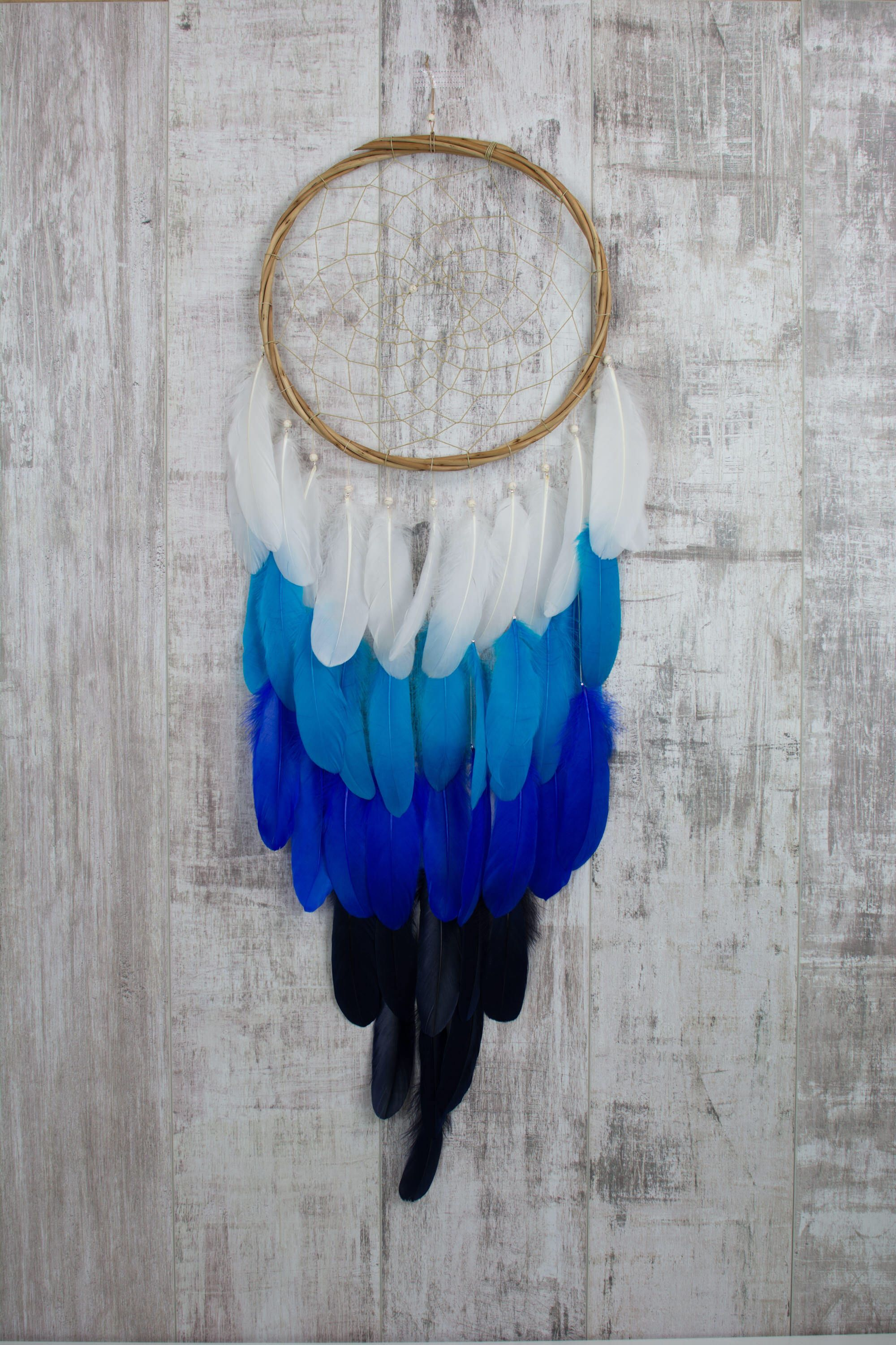 Long Ombre Blues Feather Dreamcatcher  Color Choice  Boho