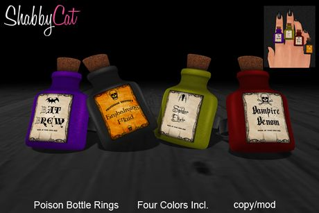 Shabby Cat - Poison Bottles Ring Set