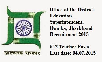 Jharkhand Education Department recruitment 2015
