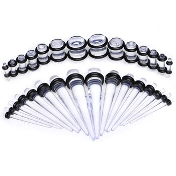 Body Candy 00 Gauge to 1/÷ Nine Piece Clear Acrylic Ear Stretching Taper Kit