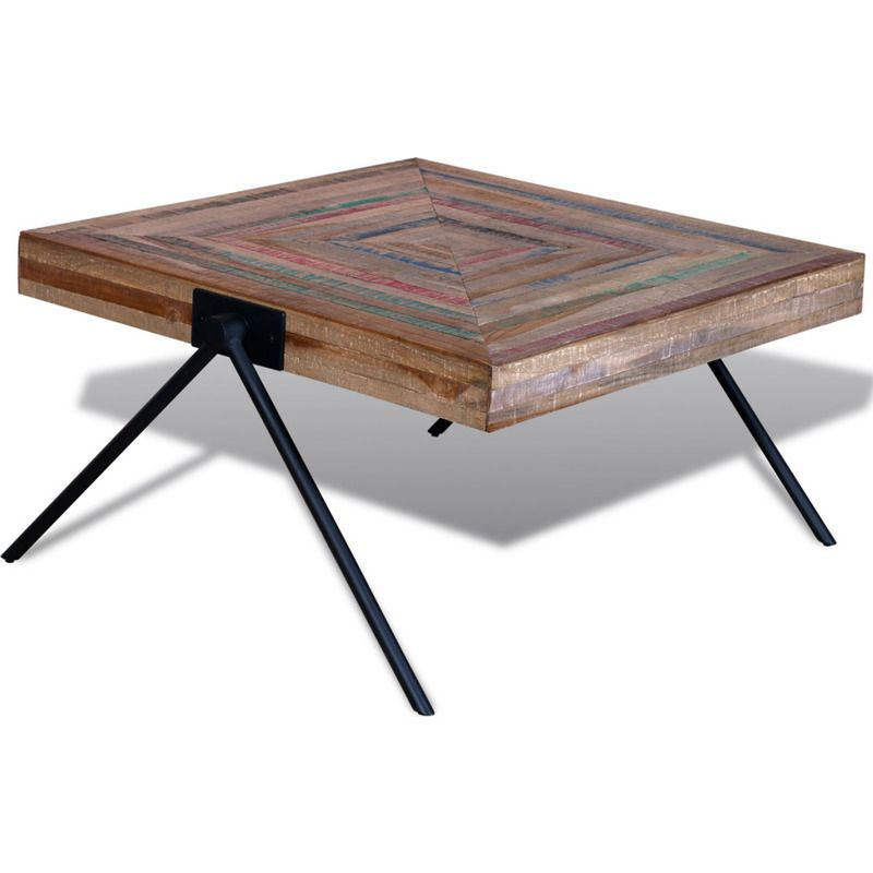 Vidaxl Coffee Table With V Shaped Legs Reclaimed Teak Wood Timber