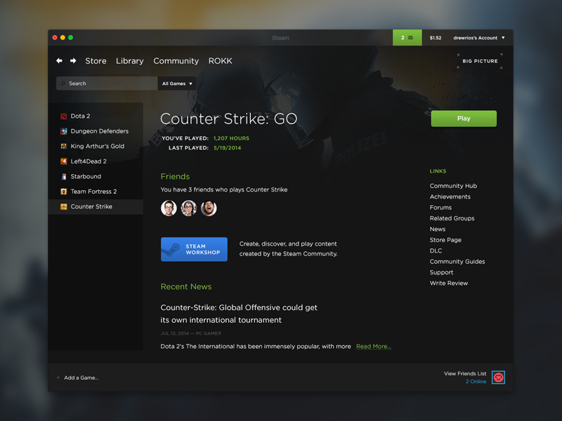 Steam Redesign App design inspiration, App design