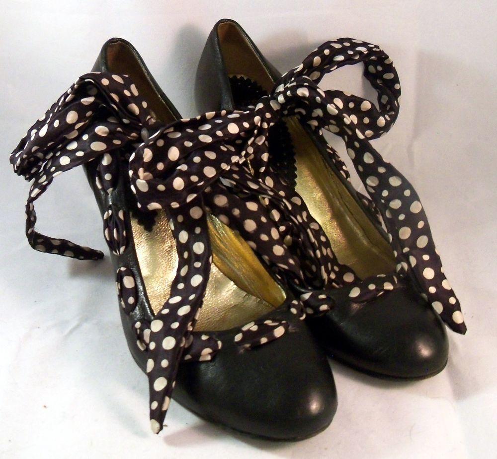 HEGOS Shoes ~ Black Ribbon Laced Pump ~ Size 7 M #Hegos #PumpsClassics