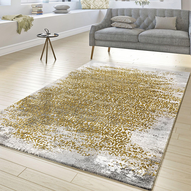 Moderner Orientteppich Vintage Look Mit Klassischen Ornamenten In Gold Grau