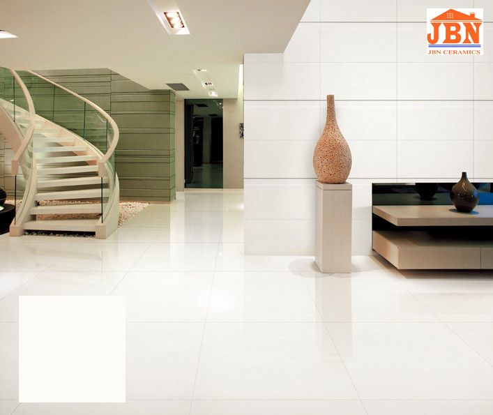 Super White Vitrified Polished Porcelain Floor Tile J8t00 Photos
