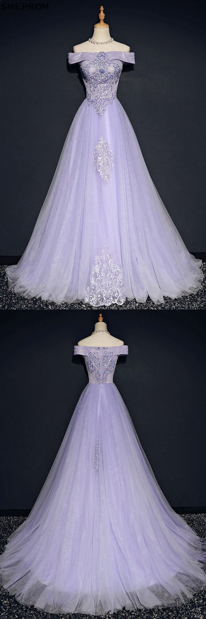 Special lavender a line long prom dress off the shoulder with lace