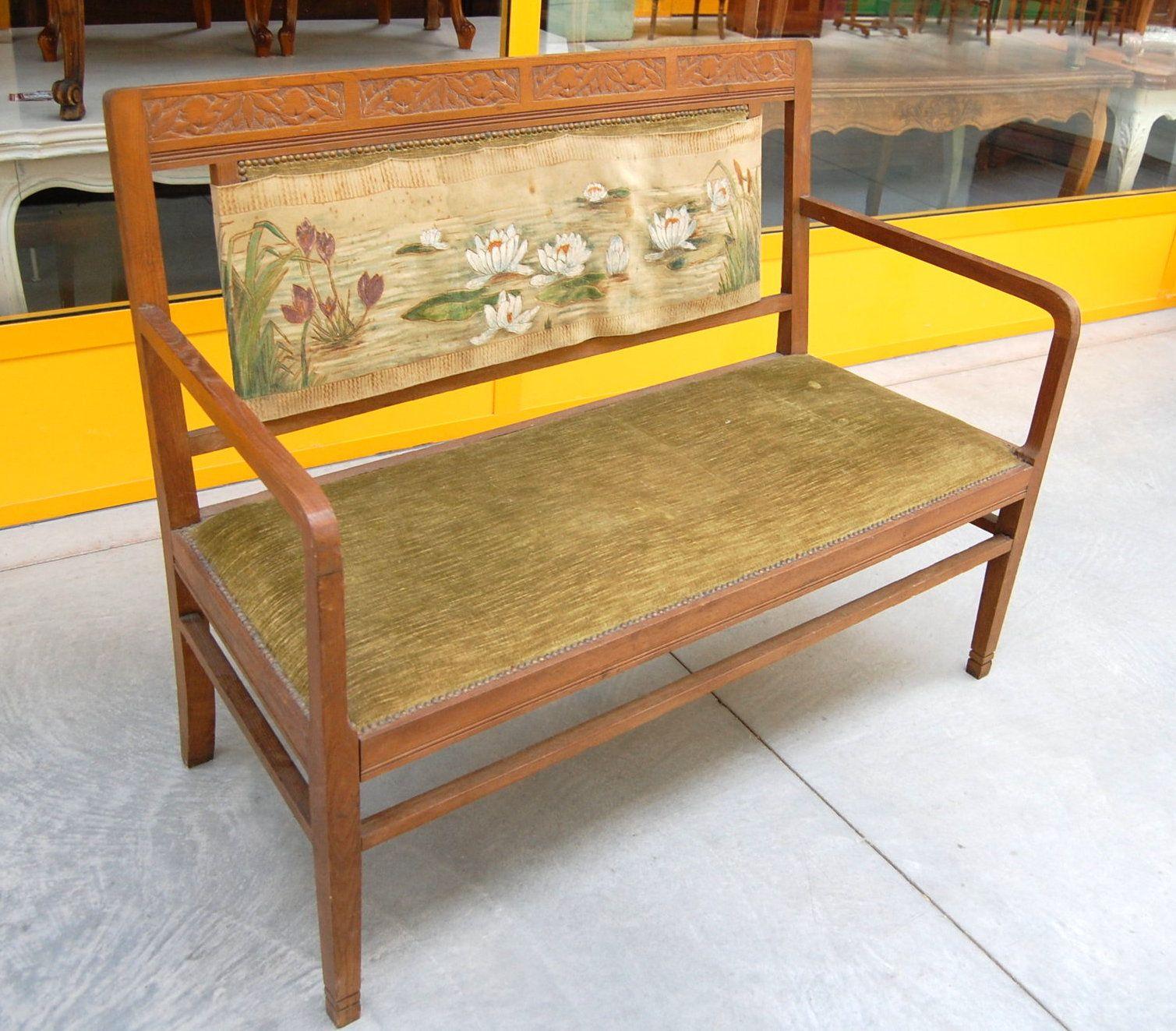 Piccolo divano in faggio liberty inizio '900 lungo 128 cm