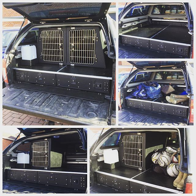 Carl Cheshire On Instagram Custom Made Nissan Navara Pick Up System The System Was Made Up Of Our Standard Nissan Navara Veh Nissan Navara Dog Box Dog Cages
