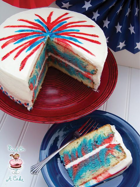 Bird On A Cake 4th Of July Fireworks Cake 4th Of July Desserts Patriotic Desserts Fireworks Cake