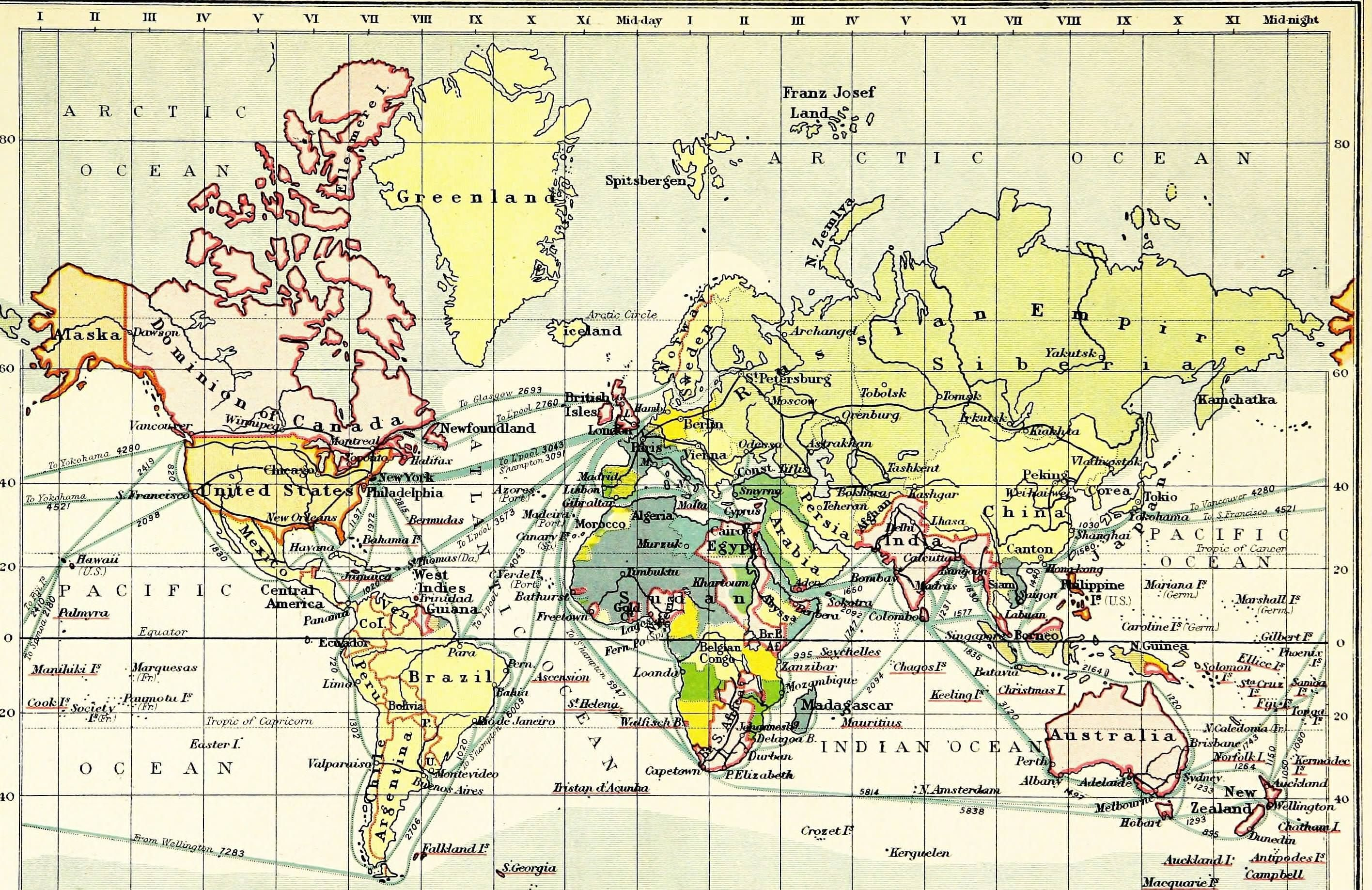 World Map showing distances between locations 1913 | MAPS