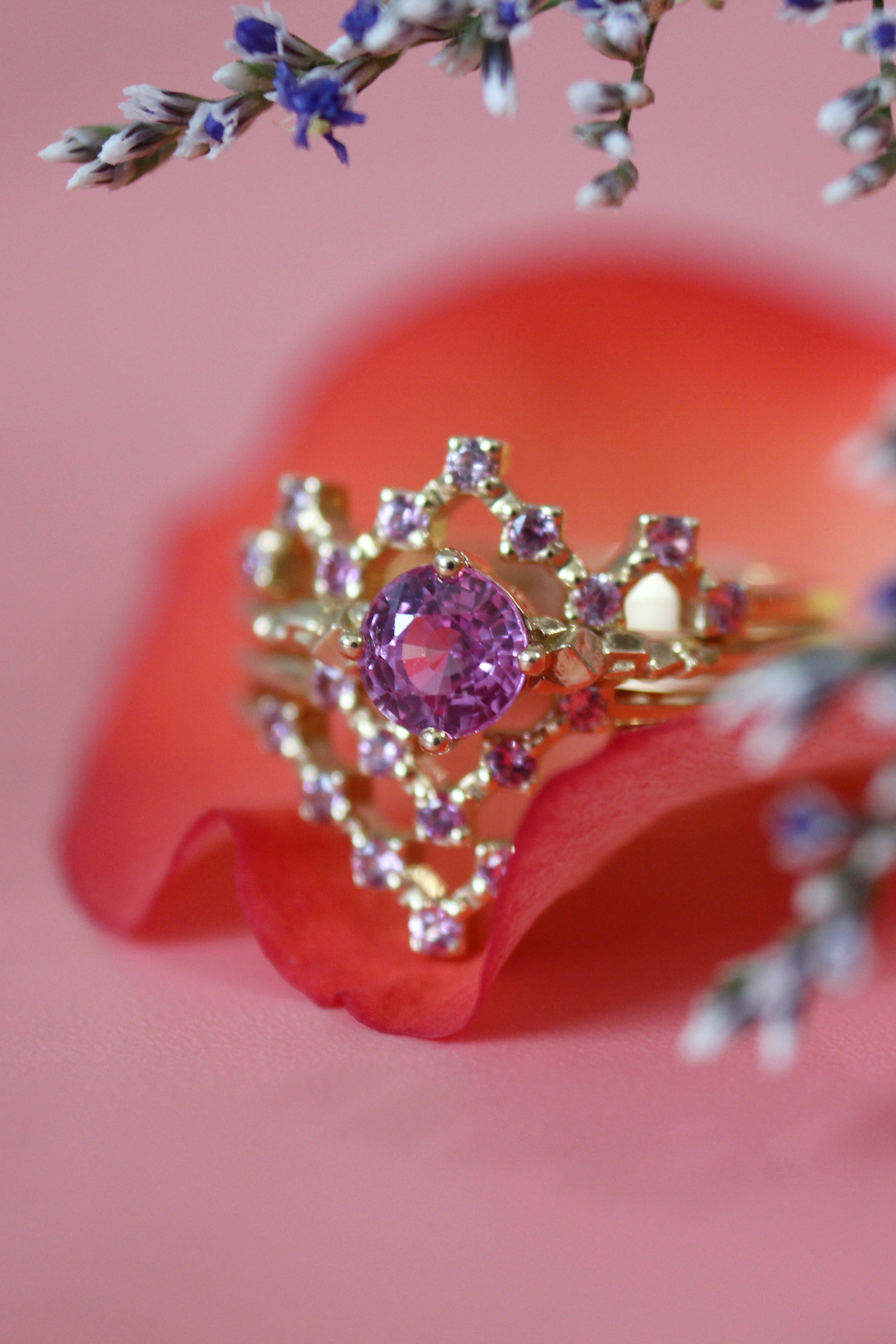 A pink sapphire pixel ring stack <3 | Jewelry | Pinterest