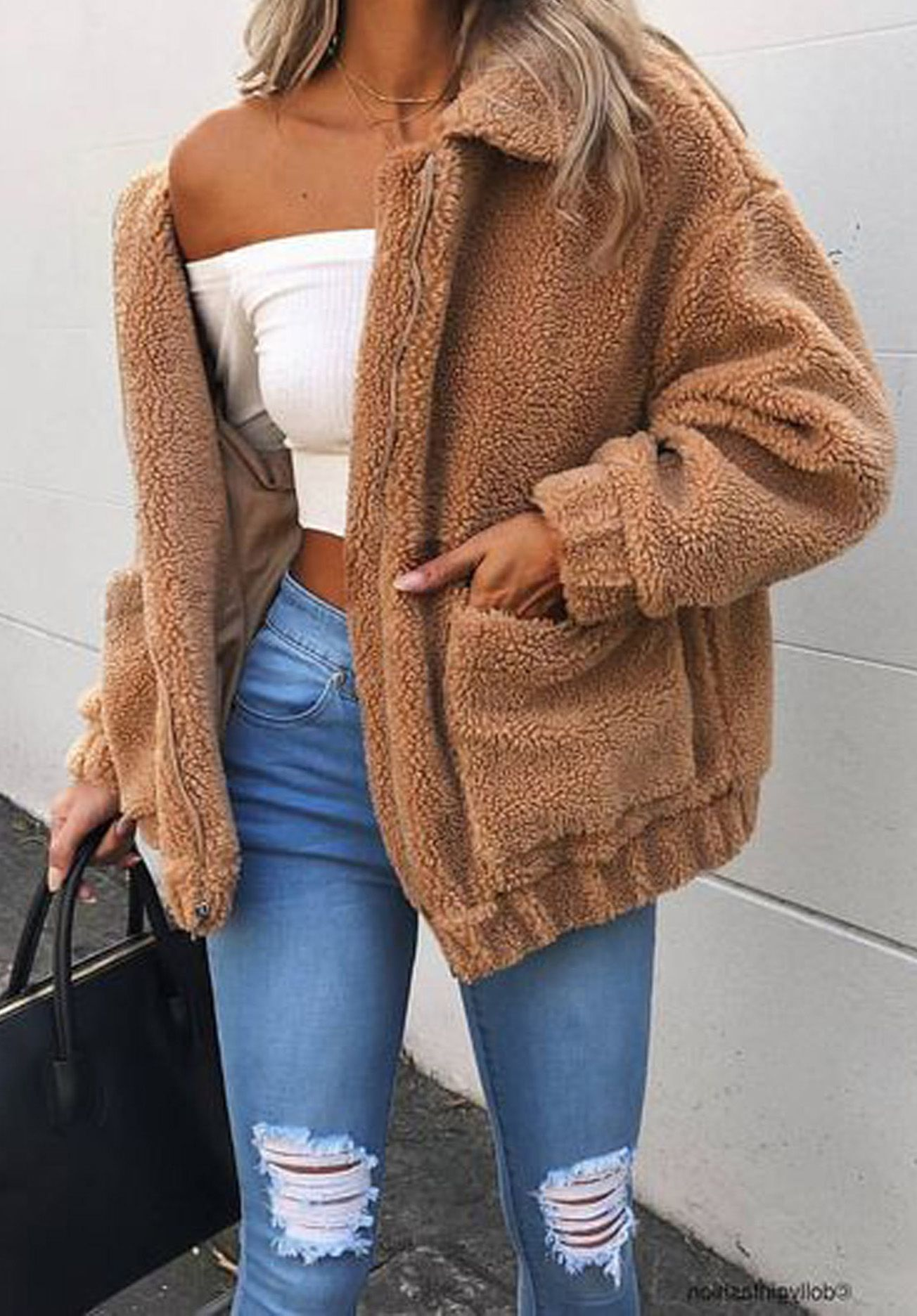 71f5af1d277 Cute Cozy Warm Fall Back to School Outfit Ideas for Teens for College -  Aurora Popular Oversized Soft Comfy Sherpa Teddy Jacket Pixie Coat I am gia  dupe ...