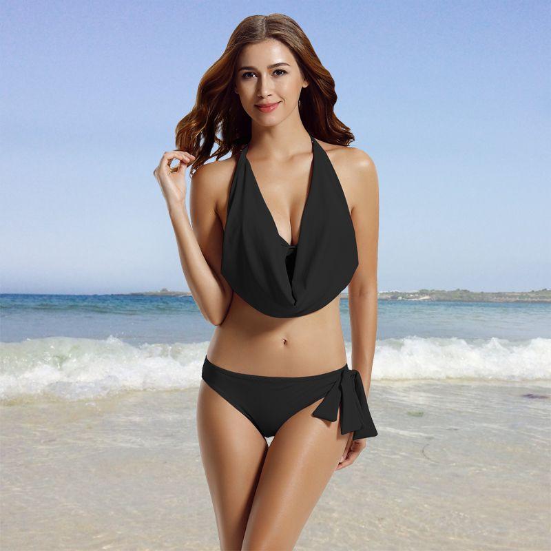 f98bec18881e0 Women's Hipster Halter Cowl Neck Bikini Bathing Suits | Bikini 2019 ...