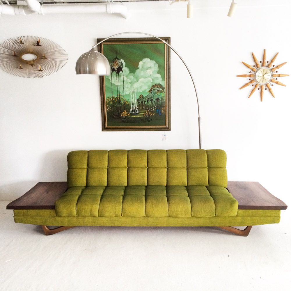 Adrian Pearsall Style Sofa With Black Walnut Live Edge Side Tables.