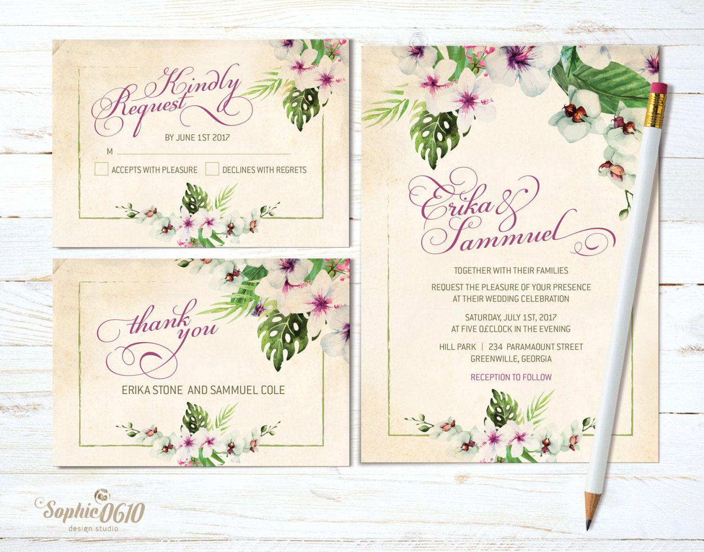 Printable vintage floral wedding invitation set, Digital ivory ...