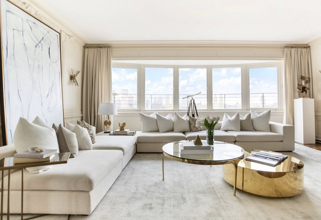 Majestic white and beige living room decor | Beige living