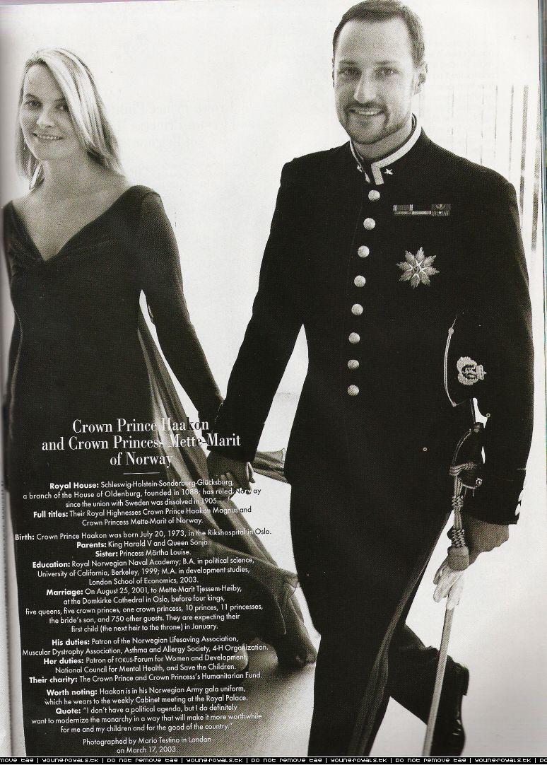Crown Prince Haakon and Crown Princess Mette Marit of Norway, Vanity Fair 2003