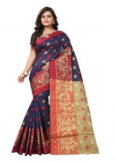 d108cc24339a47 Women s Cotton Saree with Blouse Piece Soft Fabric  Cotton Silk saree for  women Pattern
