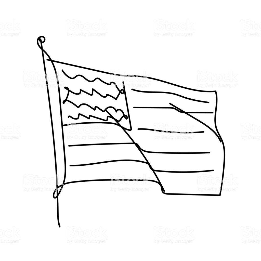 Usa Flag Line Art Minimalist Contour Drawing Continuous Black Flag Drawing American Flag Drawing Line Drawing