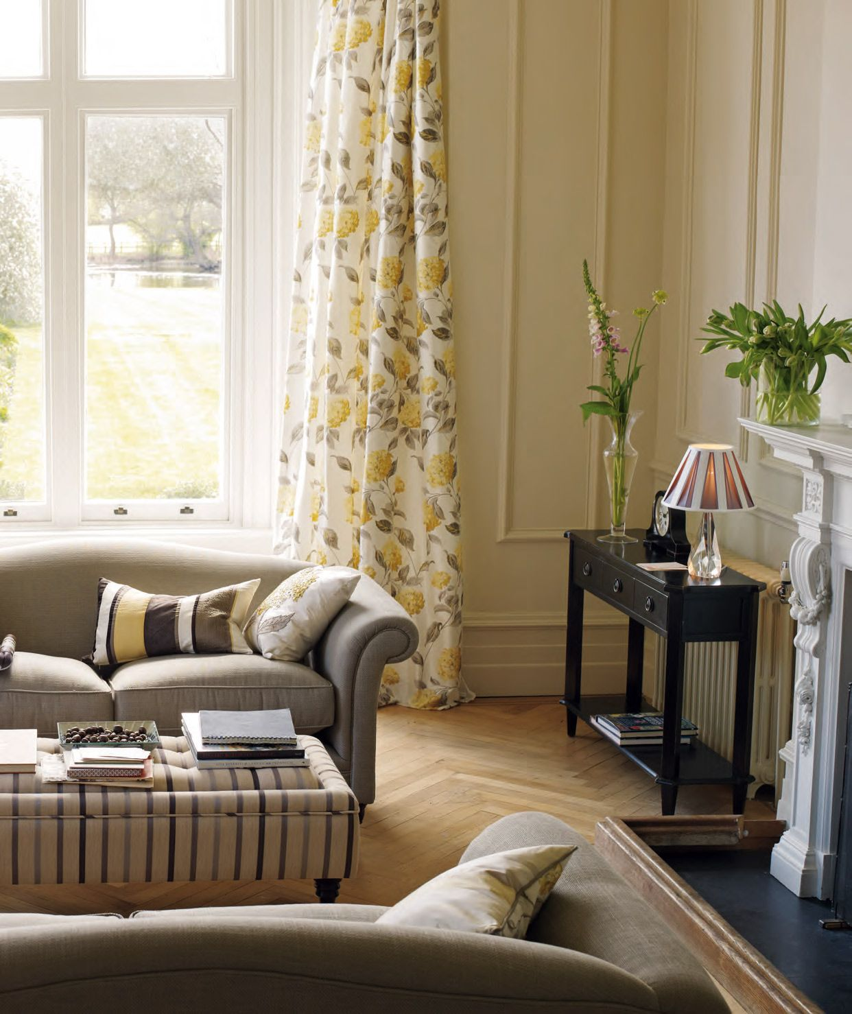 Pinterest Pictures Of Yellow End Tables With Gray Laura Ashley Hydrangea Living Room Laura Ashley