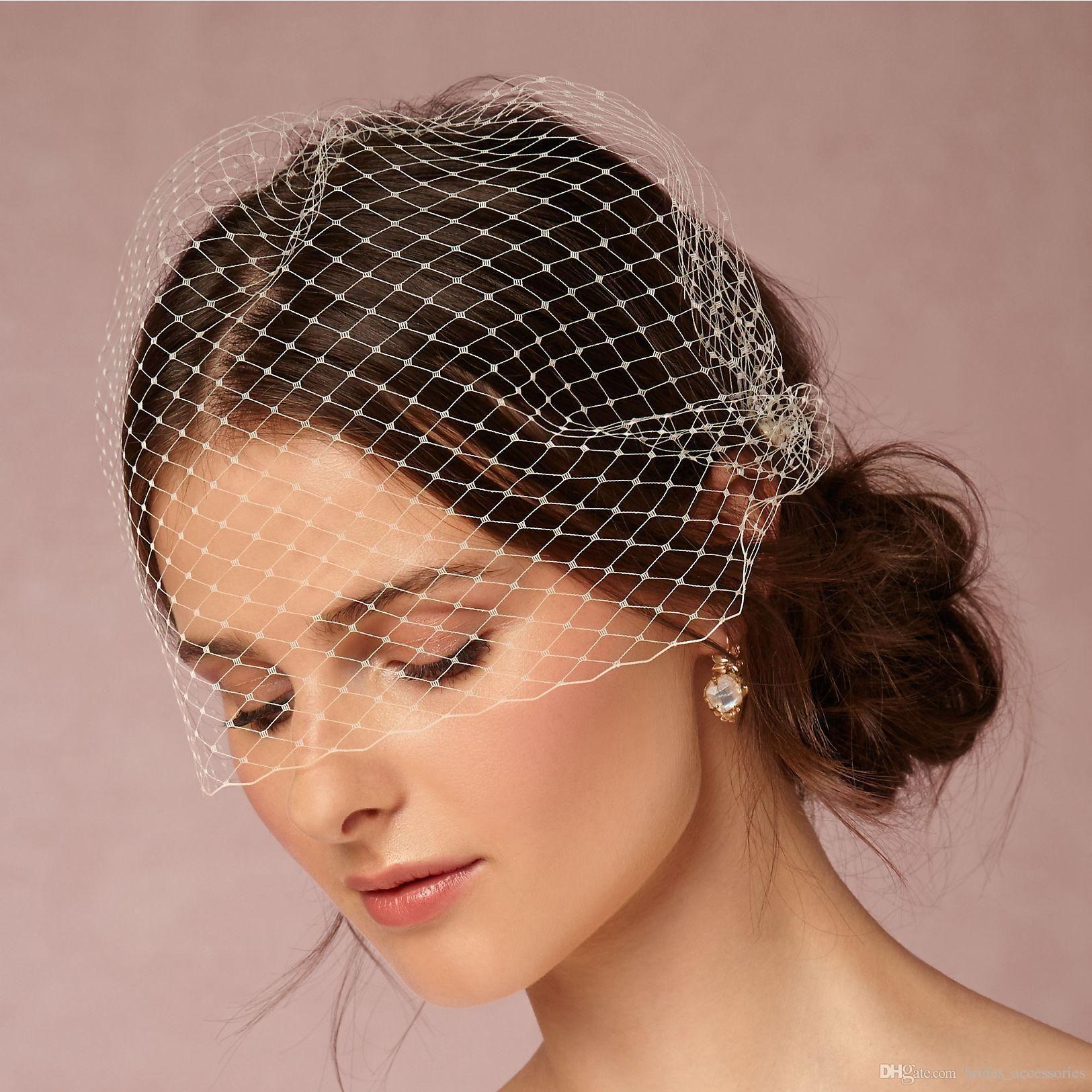 Elegant Short Bridal Veils Face Covers Bridal Fascinator