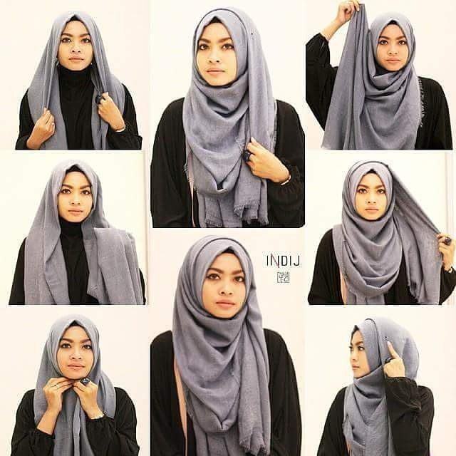 Tutorial Hijab Segi Empat Simple Foulard Pinterest